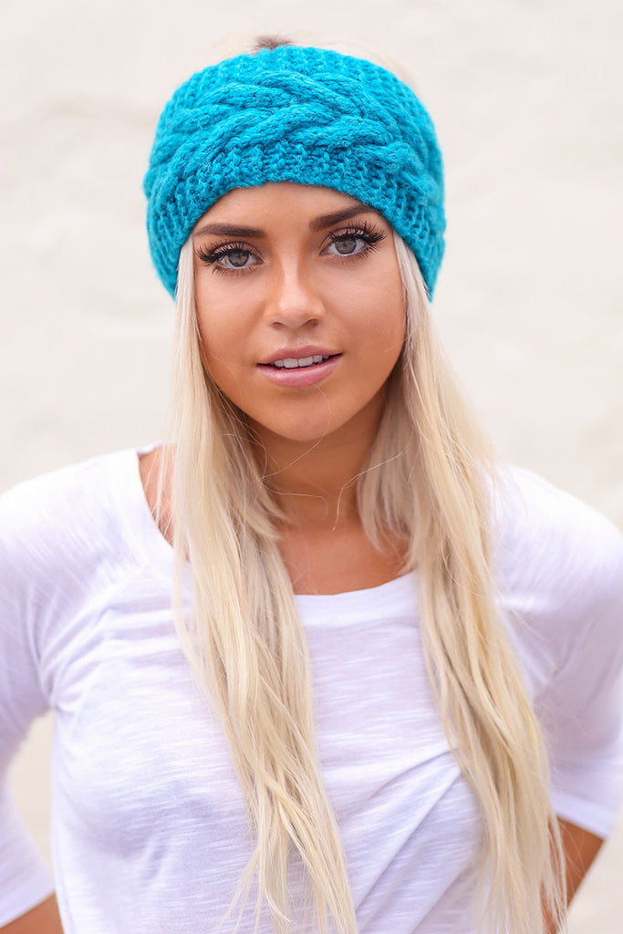 Twisted Knot Knit Crochet Headband (Turquoise) - Pineapple Collective