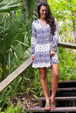 Long Sleeve Gauze Print Tie Front Dress - Pineapple Collective