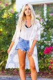 Floral Crochet Embroidered Long Lace Cardigan (Ivory)