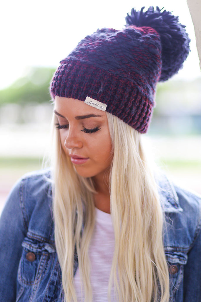 Multi Color Chunky Pom-Pom Beanie ( Navy Blue and Red Multicolor) - Pineapple Collective