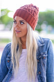 Thick Braid Knit Beanie (Rust) - Pineapple Collective