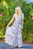Sunday Best Floral Print Maxi Dress (Grey) - Pineapple Collective