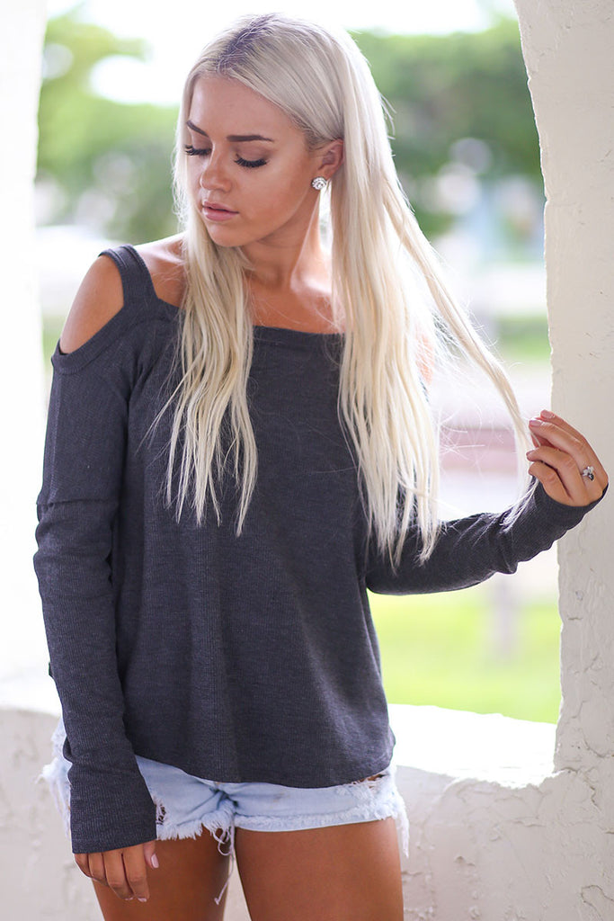 Playing Hard to Get Long Sleeve Cold Shoulder Top ( Charcoal) - Pineapple Collective