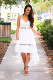 You Are The One Front Tie Solid Round Lace Hi-Low Dress (White) - Pineapple Collective