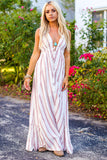 Apple Blossom Stripe Maxi Dress (Pink/Ivory) - Pineapple Collective