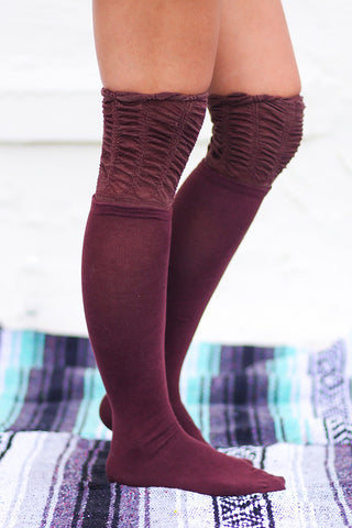 Scrunched Top Solid Thigh High Socks (Burgundy) - Pineapple Collective