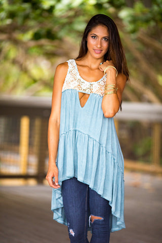 POL Crochet Detail High Low Tunic Top (Blue Sage)