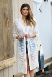 The Sweetest Thing Floral Crochet Embroidered Long Lace Cardigan (Ivory) - Pineapple Collective