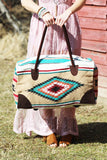 Southwestern Large Weekender Travel Bag (Beige) - Pineapple Collective