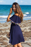Take Me To The Rainbow Off-the-Shoulder Pom Pom Detailing Dress (Navy) - Pineapple Collective