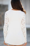 Always Beautiful Solid  See-Through Lace Long Sleeve Top (Ivory) - Pineapple Collective