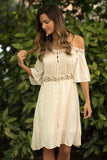 Button Front Off Shoulder Dress (Beige) - Pineapple Collective
