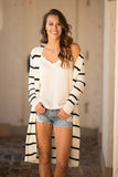 Enjoy the Little Things Ribbed Xlong Open Cardigan (Ivory) - Pineapple Collective