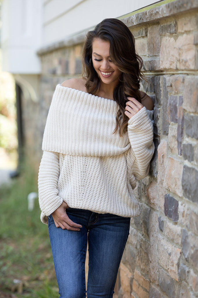 Off The Shoulder Fold Over Ribbed Sweater (Cream) - Pineapple Collective