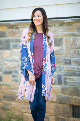 Like We Used To Floral Print Open Cardigan (Mauve) - Pineapple Collective