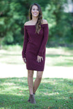 Time for Wine Long Sleeve Off the Shoulder Sweater Dress (Burgundy) - Pineapple Collective