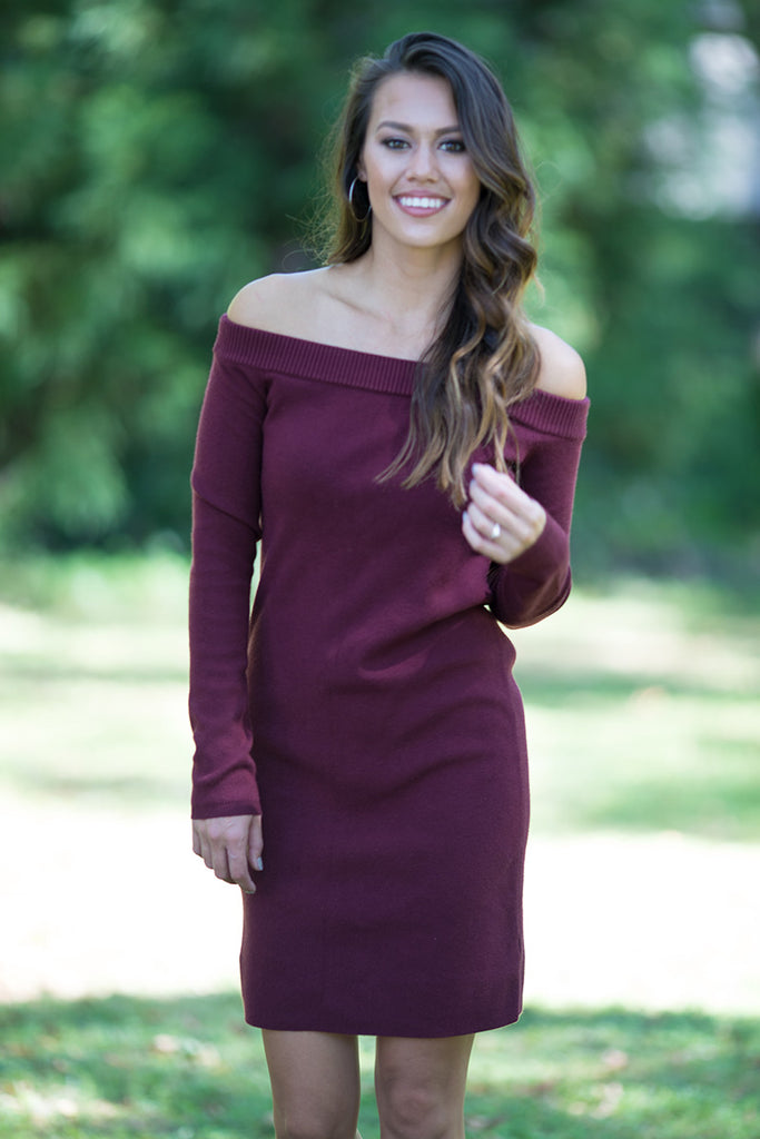 f02e7ea2e9b9 ... Time for Wine Long Sleeve Off the Shoulder Sweater Dress (Burgundy) -  Pineapple Collective ...