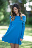 Falling Leaves Long Sleeve Foldover Off Shoulder Dress (Teal) - Pineapple Collective