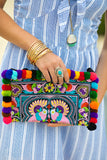 PomPom Adorned Embroidered Clutch - Pineapple Collective