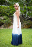 Ombre Open Shoulder Tiered Maxi Dress