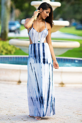Tie Dye Open Back Dress