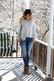 Sky Is The Limit Striped Cold Shoulder Puff Sleeves Top (Heather Grey) - Pineapple Collective