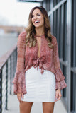 Twist Of Luck Ruffle Layered Long Sleeve Top  (Ginger) - Pineapple Collective