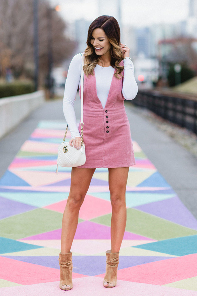 Pink Is My Color Corduroy Dress (Pink) - Pineapple Collective
