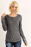 Solid Embroidered Cuff Long Sleeve Top (Gray) - Pineapple Collective