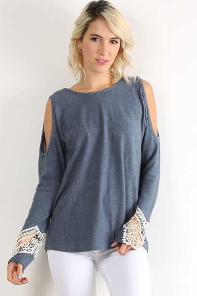 In the Clouds Cold Shoulder Long Sleeve Top (Light Blue) - Pineapple Collective