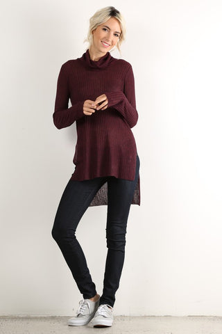 Cozy Chic Solid Rib Knit Long Sleeve Tunic Top (Wine) - Pineapple Collective
