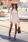 'Katy' Ribbed Knit Bell Sleeves Bodycon Dress (Cream) - Pineapple Collective