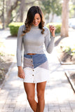 Straight To Heaven Corduroy Button Down Color Blocked Mini Skirt (Dusty Blue) - Pineapple Collective