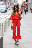 Lady In Red Off Shoulder Flared Ruffle Top & Pant Set (Red) - Pineapple Collective