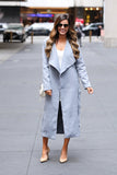 City Girl Wool Blend Maxi Coat (Blue Grey)
