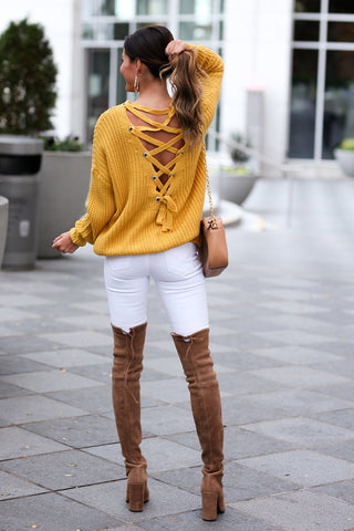 'Katy' Lace Up Back Sweater (Mustard)
