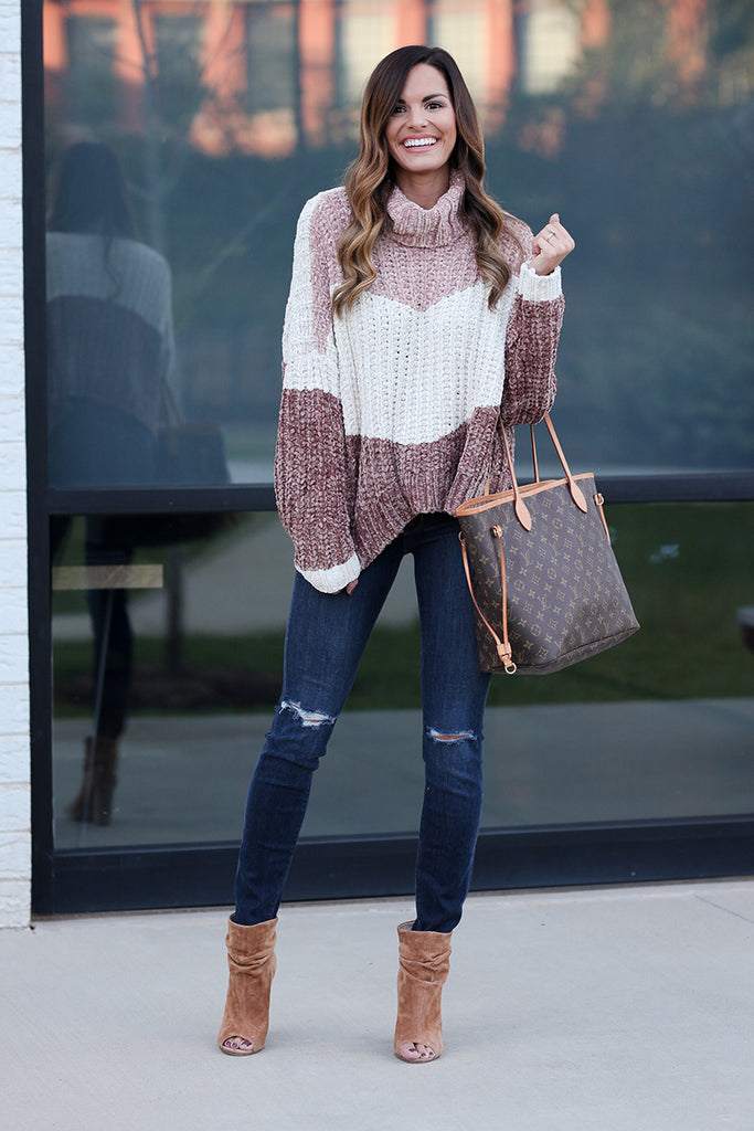 Chenille Turtle Neck Colorblock Sweater (Canyon Rose Multi) - Pineapple Collective