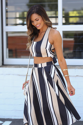Lola Striped Two Piece Set (Nude Stripe) - Pineapple Collective