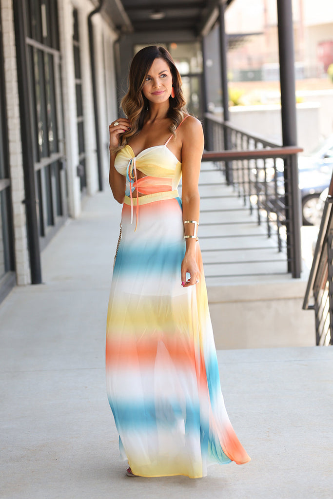 Follow Your Heart Multi Stripe Maxi Dress (Multi) - Pineapple Collective