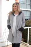 Contrast Detail Hooded Long Cardigan (Grey) - Pineapple Collective