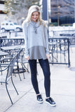 Cowl Neck Long Sleeve Contrast Pullover Top (Gray/Olive) - Pineapple Collective