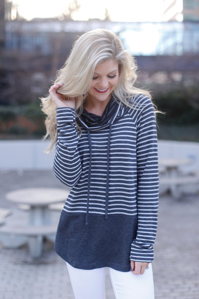 Cowl Neck Long Sleeve Striped Pullover Top (Gray) - Pineapple Collective