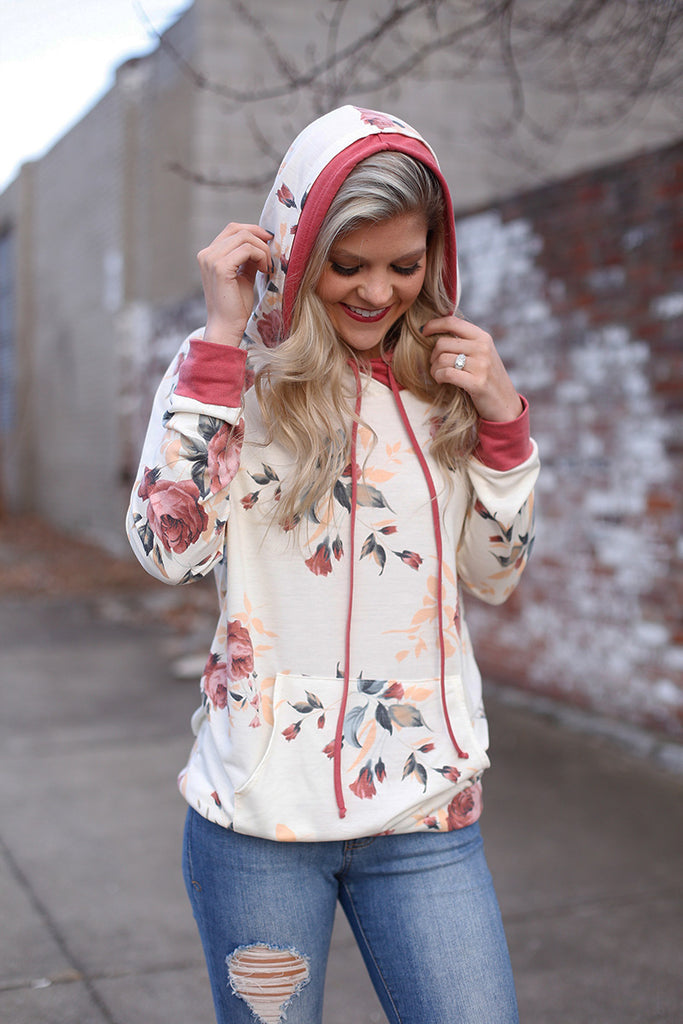Dreaming Of Roses Floral Double Hoodie Top (Ivory) - Pineapple Collective