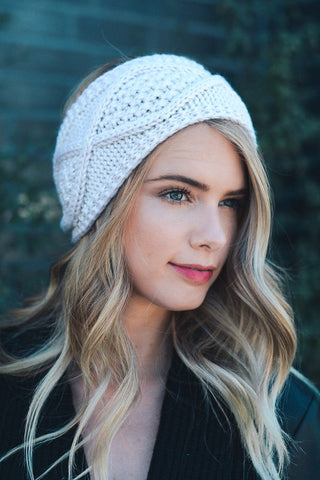 Diamond Stitch Knit Crochet Headband (Cream) - Pineapple Collective