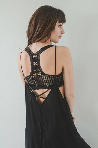 Lace Trim Seamless Bralette (Black) - Pineapple Collective