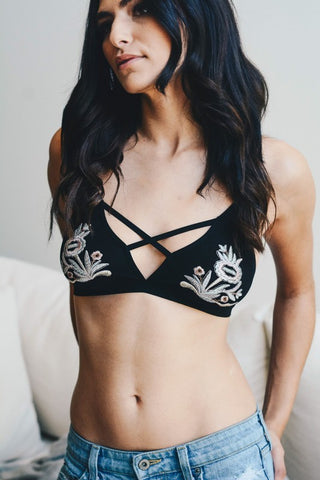 Floral Embroidery Patch Strap Bralette (Black) - Pineapple Collective