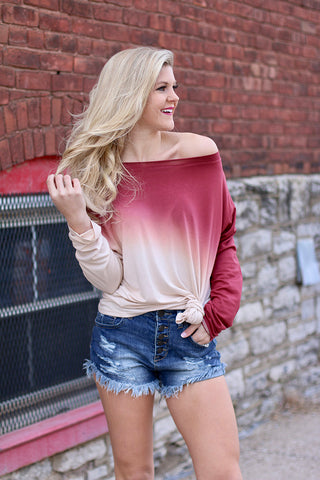 Free & Wild Long Sleeve Ombre Top (Red)