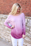 Loosing My Mind Twisted Open back Ombre Top (Violet) - Pineapple Collective
