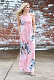 Born To Love Floral Razor Back Maxi Dress (Light Pink) - Pineapple Collective