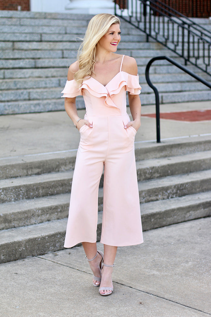 Better Than Ever Off Shoulder Tulip Ruffle Jumpsuit (Blush) - Pineapple Collective